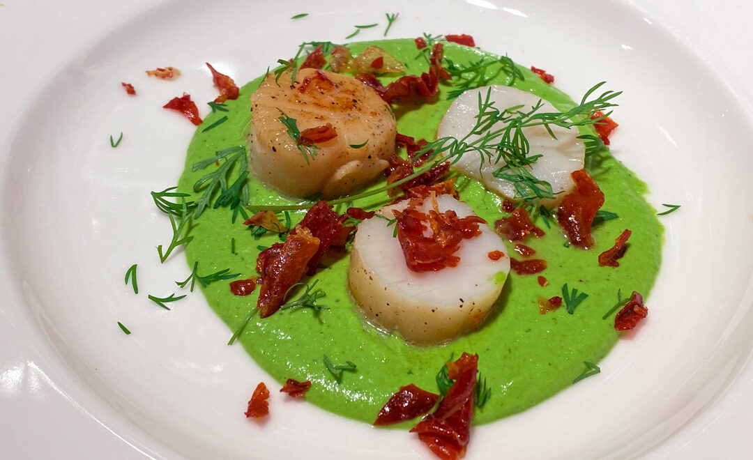 Seared scallops with pea basil puree