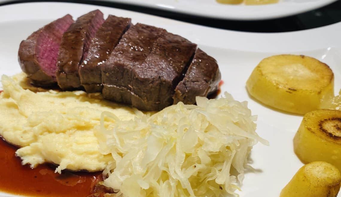 Venison (sous-vide) with sauerkraut, parsnip and red port sauce