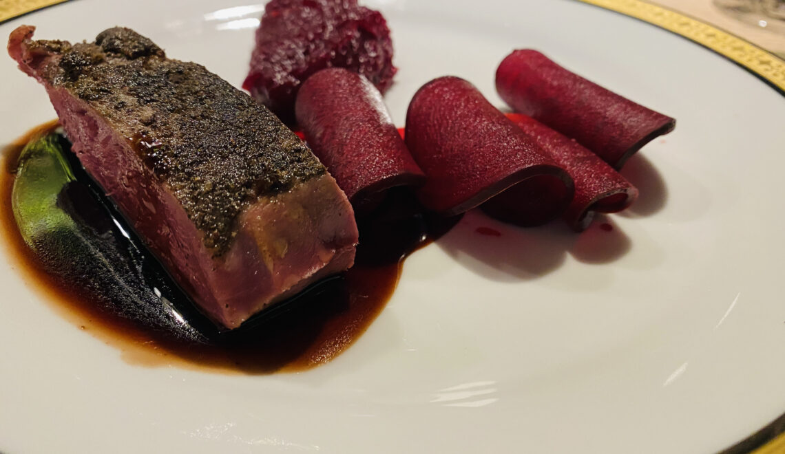 Duck (cooked sous vide) with red port sauce